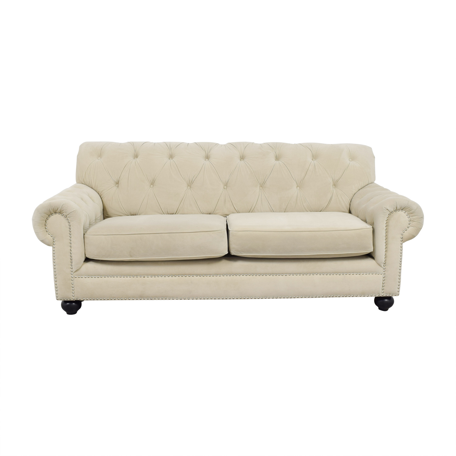 Chesterfield Style Tufted Beige Velvet Sofa used