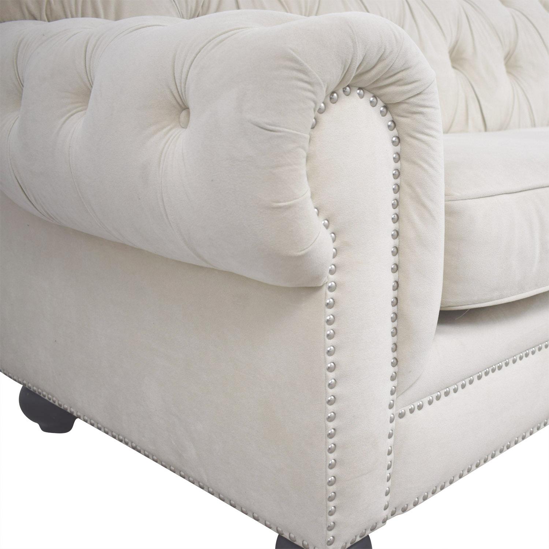 shop Chesterfield Style Tufted Beige Velvet Sofa  Classic Sofas