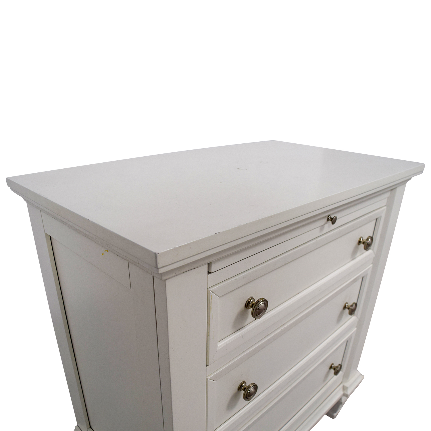 74 Off Three Drawer White Night Stand Will Pull Out