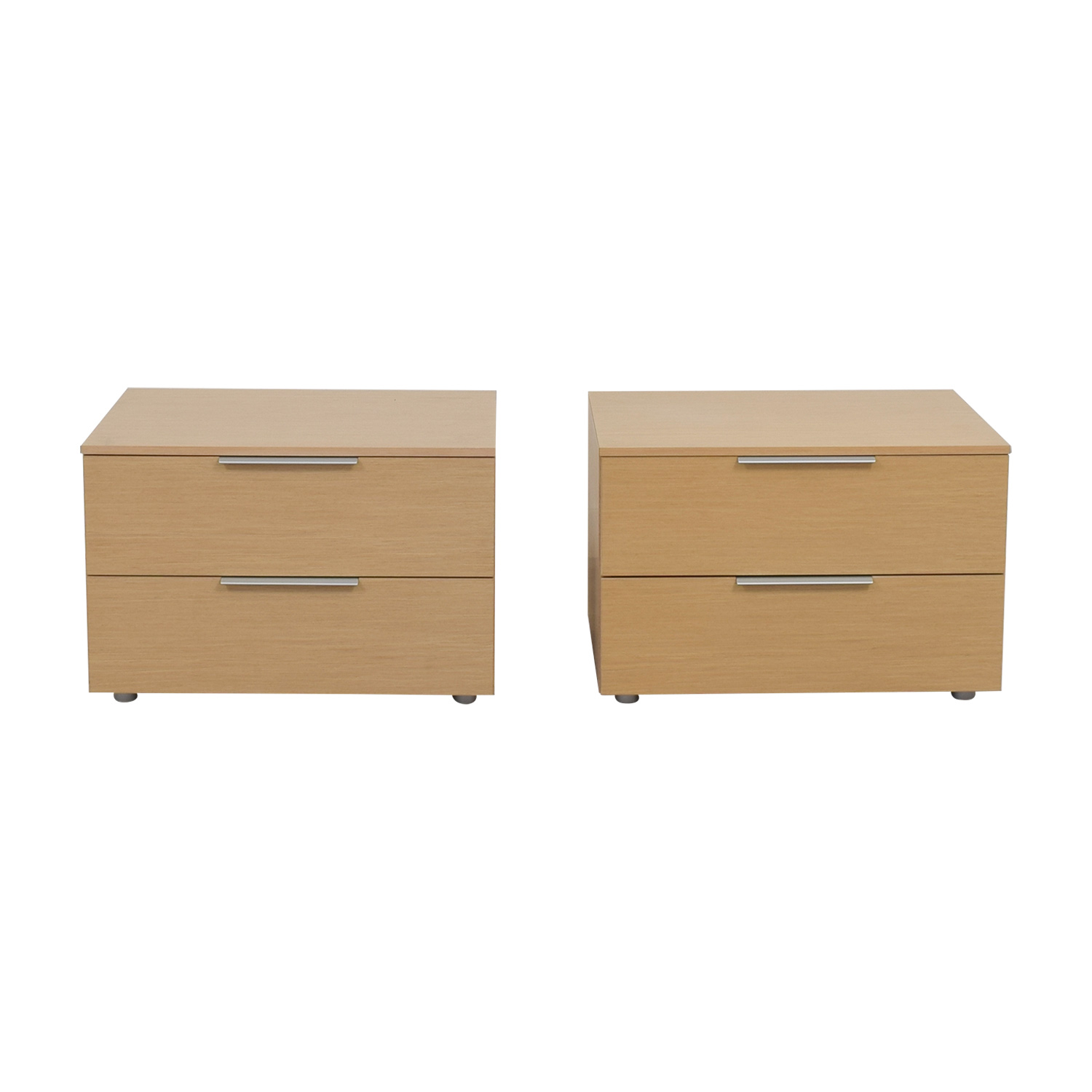 Jesse Jesse Natural Low Two-Drawer Night Stands second hand