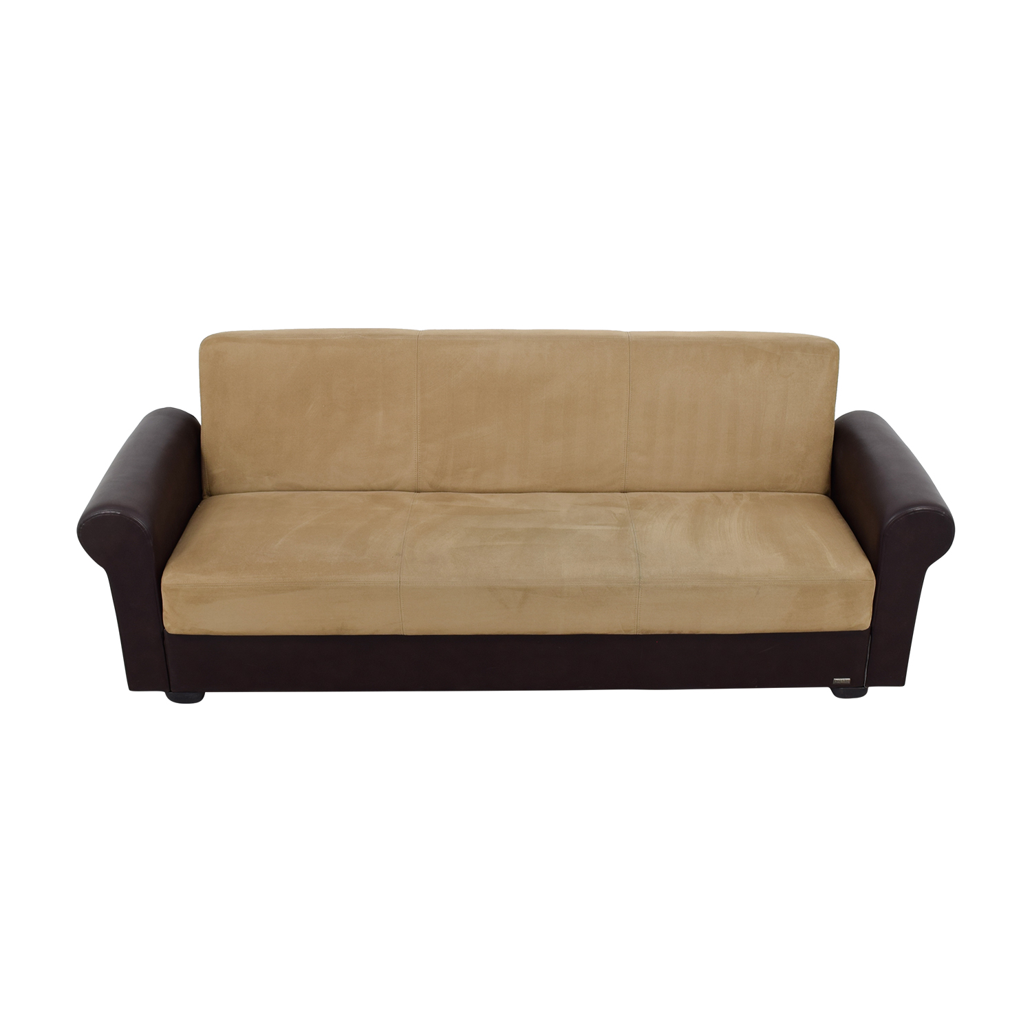 Istikbal Istikbal Brown Leather and Tan Microfiber Convertible Sofa used