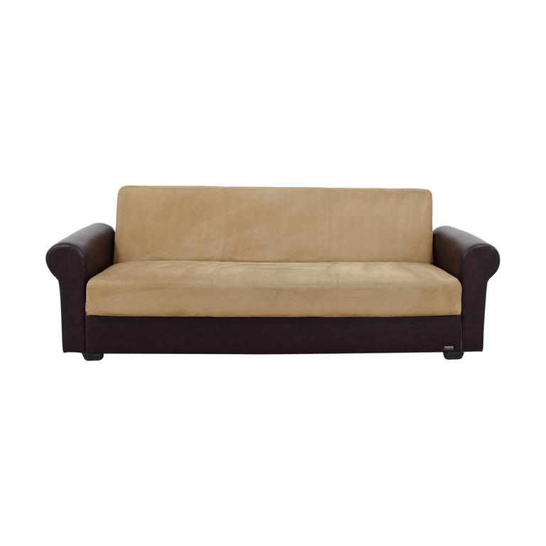 shop Istikbal Brown Leather and Tan Microfiber Convertible Sofa Istikbal