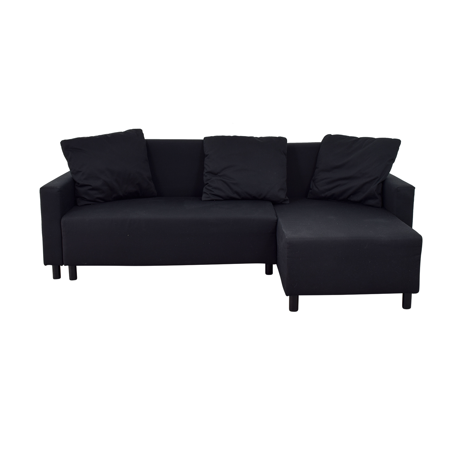 IKEA IKEA Black Sleeper Chaise Sectional with Storage for sale