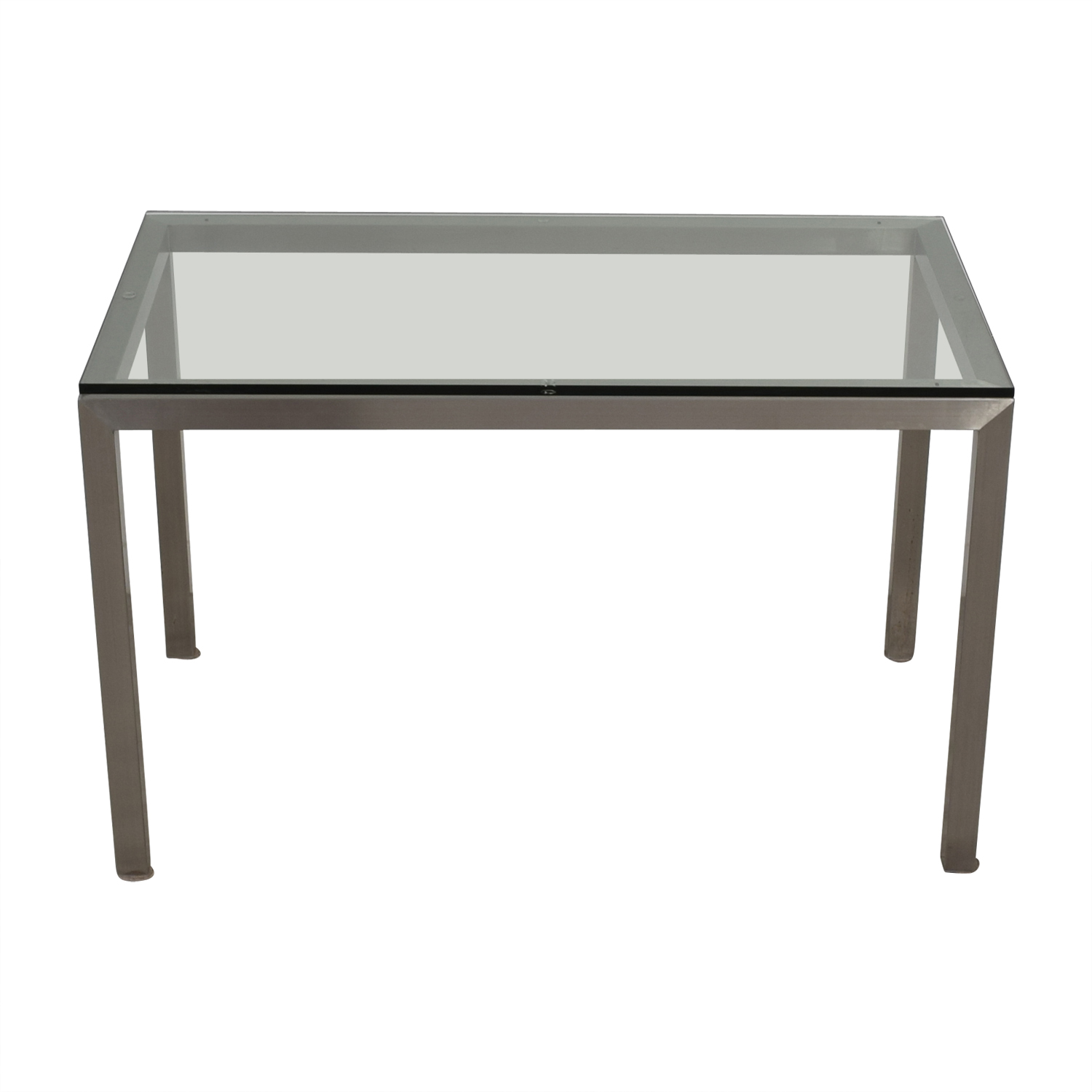 Crate & Barrel Crate & Barrel Glass and Stainless Steel Dining Table on sale