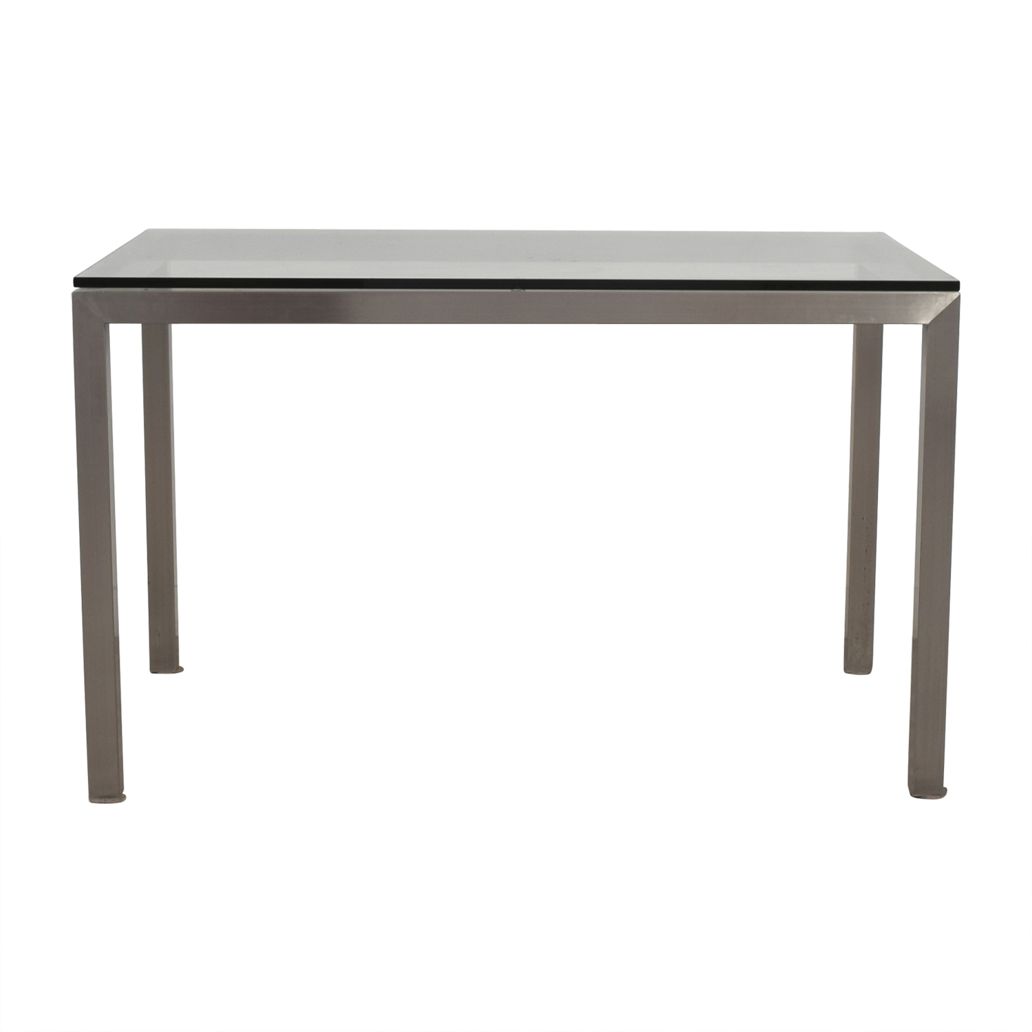 Crate U0026 Barrel Crate U0026 Barrel Glass And Stainless Steel Dining Table Dinner  ...