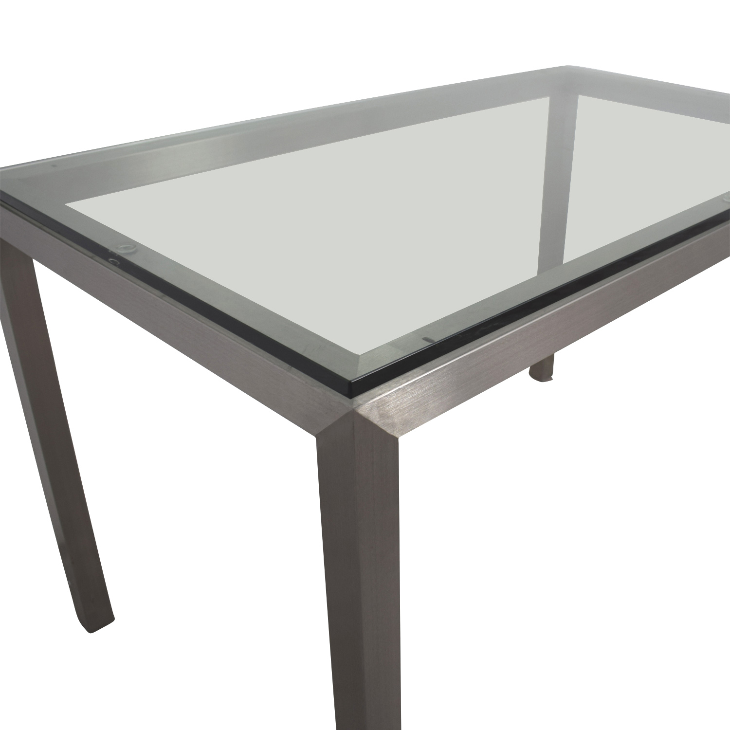 Crate & Barrel Glass and Stainless Steel Dining Table Crate & Barrel