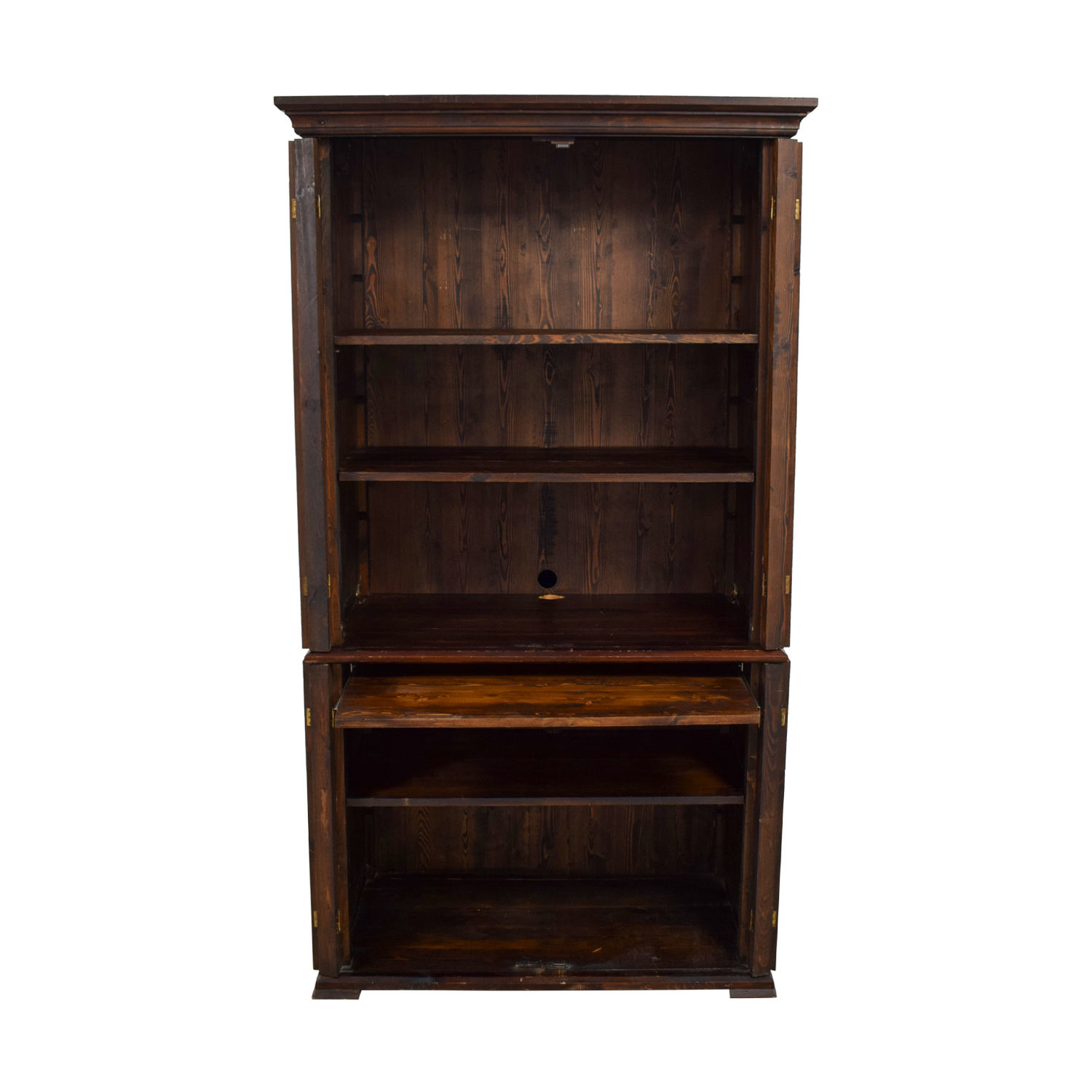 Wood Armoire with Interior Shelving Bookcases & Shelving