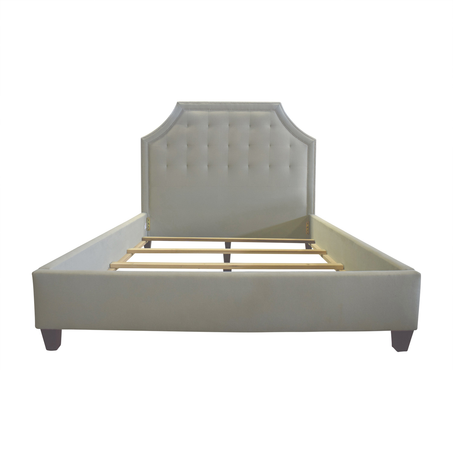 Arhaus Arhaus Vintage Light Green Semi Tufted Nailhead Queen Bed Frame on sale