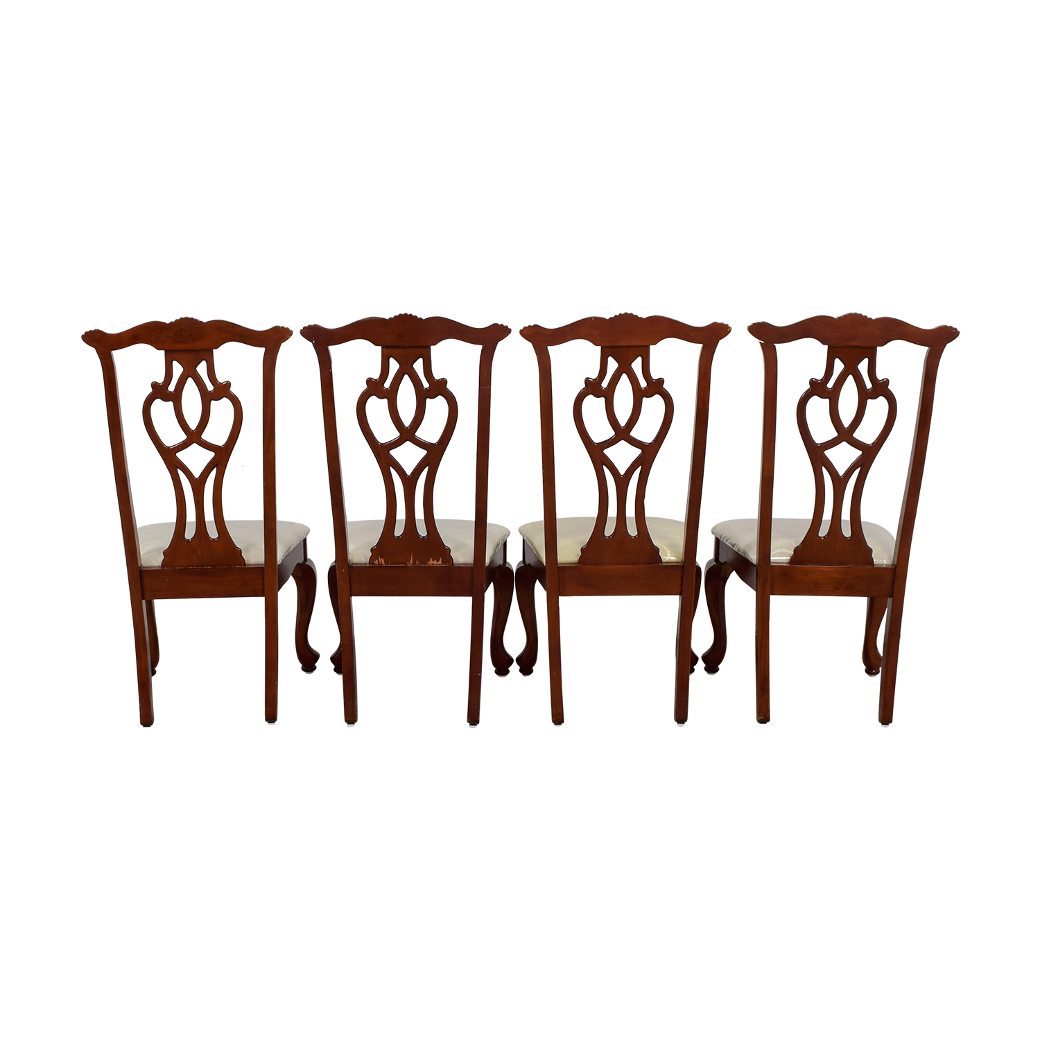 buy  Off White Upholstered Cherry Wood Dining Chairs online