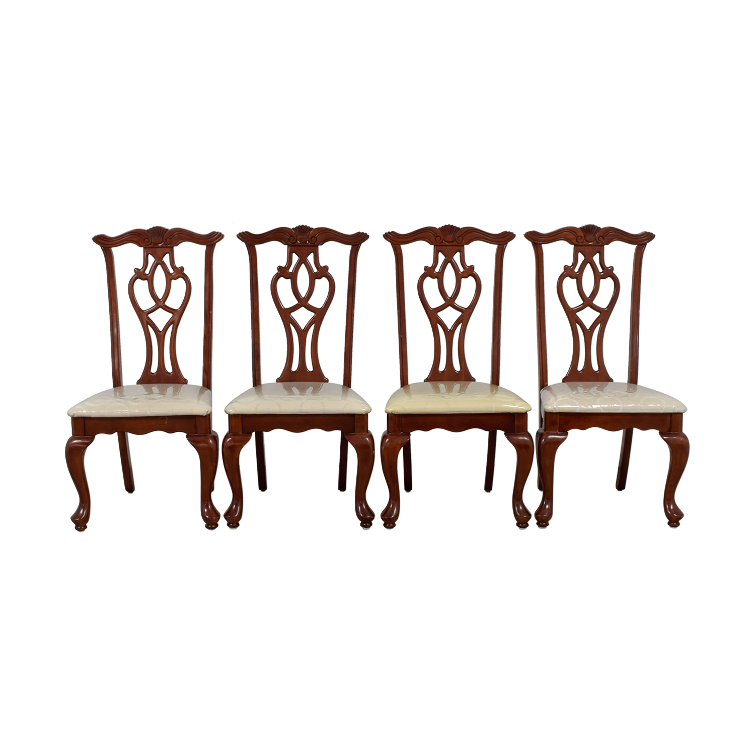 Off White Upholstered Cherry Wood Dining Chairs coupon