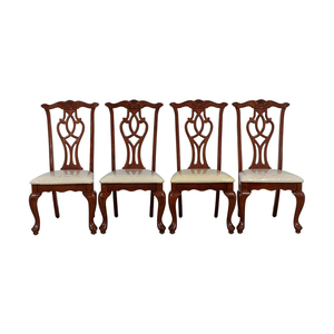 Off White Upholstered Cherry Wood Dining Chairs