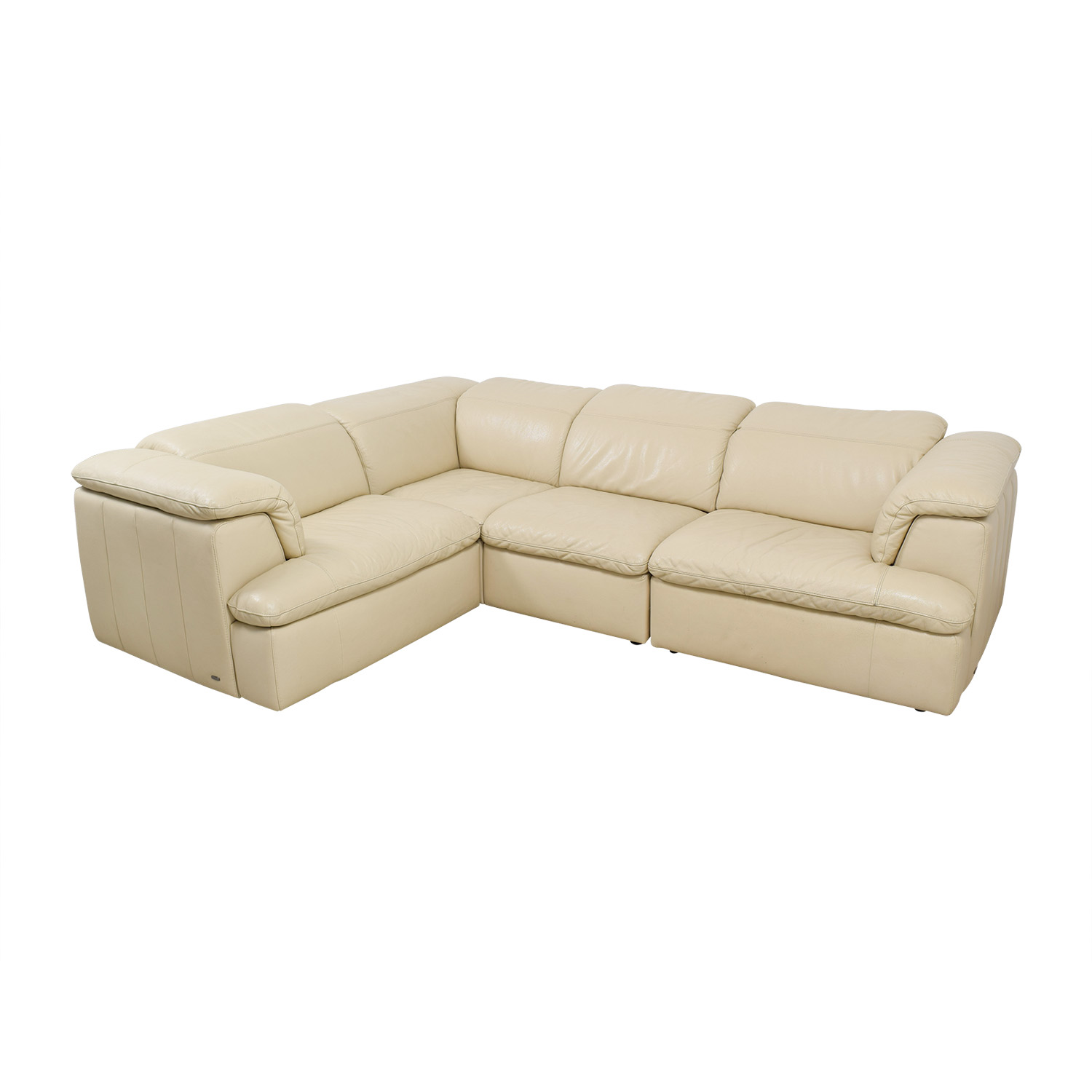 shop Natuzzi Vanilla Italian Leather L-Shaped Sectional Natuzzi Sectionals