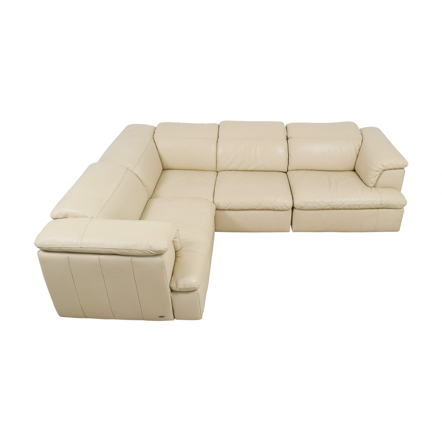 Natuzzi Natuzzi Vanilla Italian Leather L-Shaped Sectional for sale
