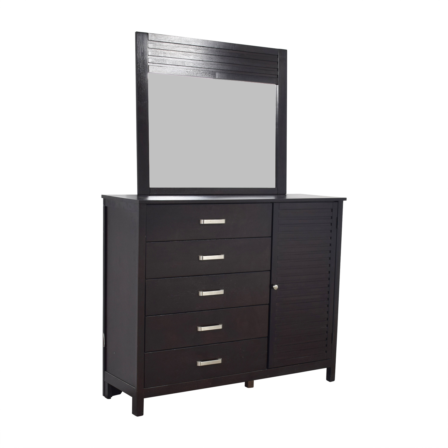 Bob's Furniture Five-Drawer Dresser with Shelf Cabinet and Mirror sale