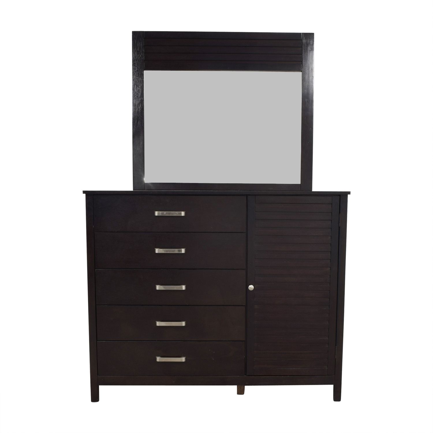 shop Bob's Furniture Five-Drawer Dresser with Shelf Cabinet and Mirror Bob's Furniture