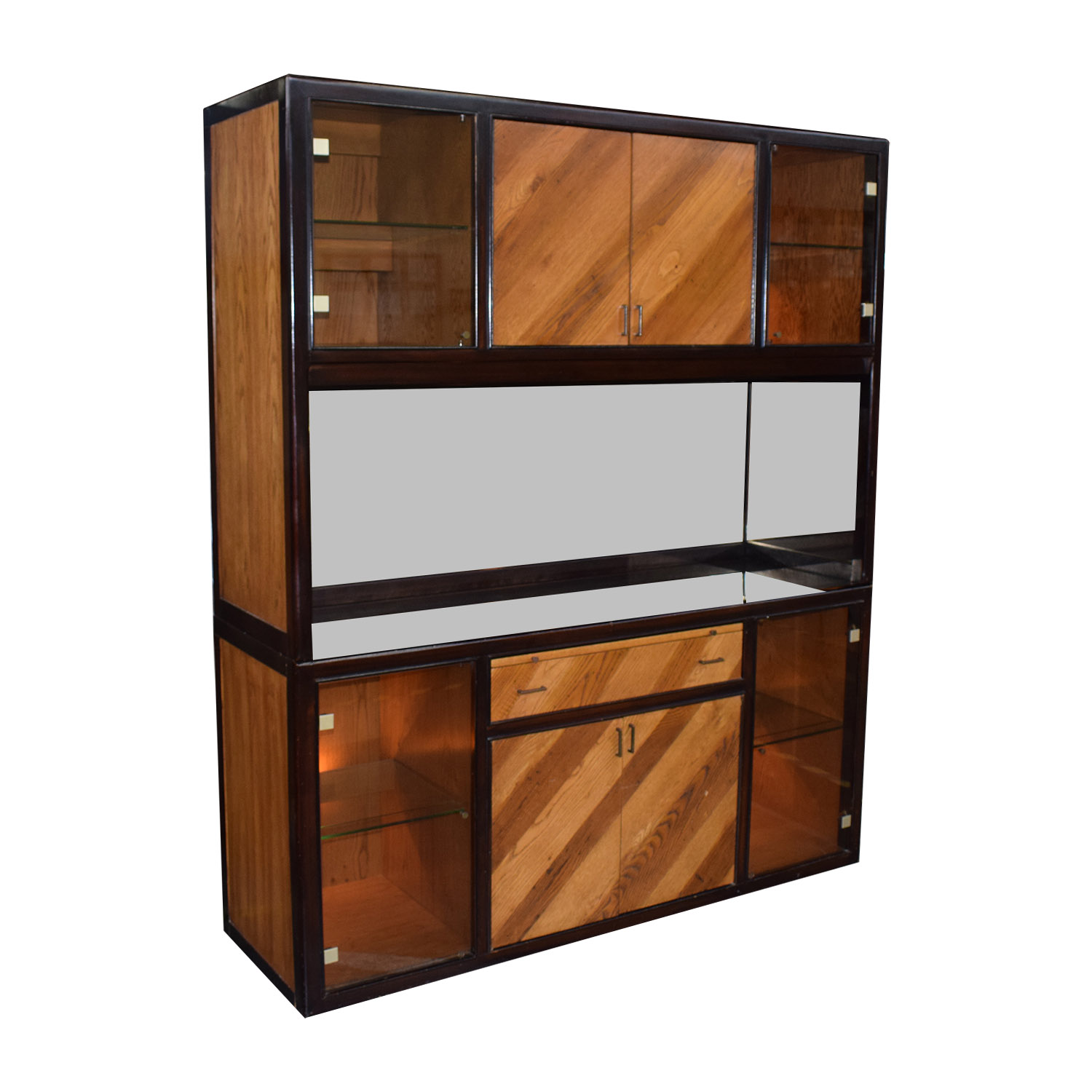 Peck and Hills Furniture Peck and Hills Furniture Wood and Glass Mirrored Breakfront coupon