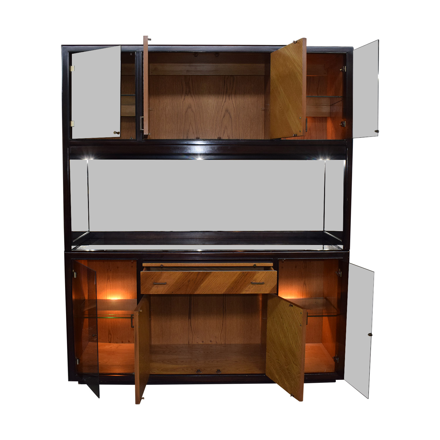Peck and Hills Furniture Wood and Glass Mirrored Breakfront / Cabinets & Sideboards