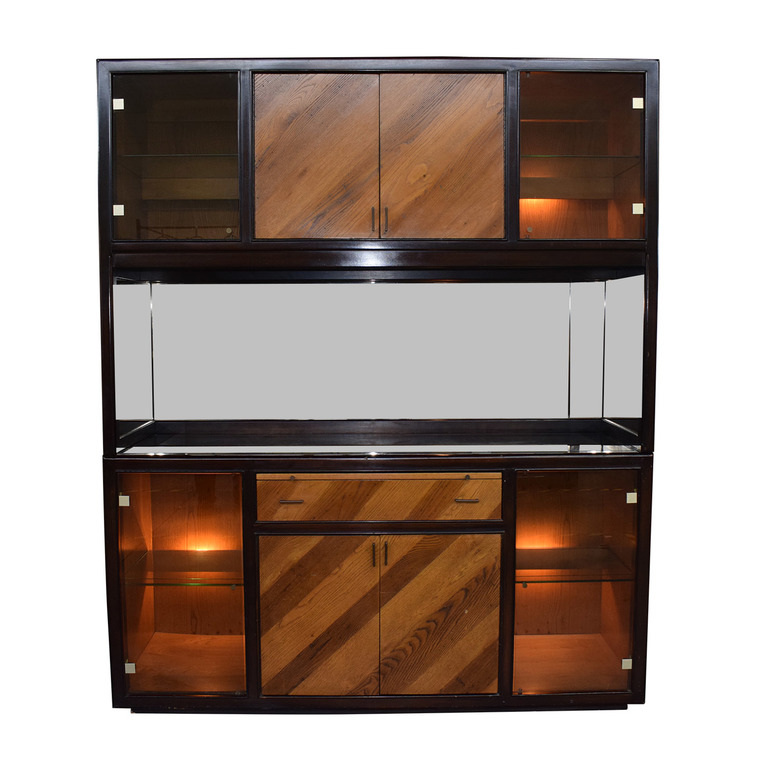 Peck and Hills Furniture Peck and Hills Furniture Wood and Glass Mirrored Breakfront