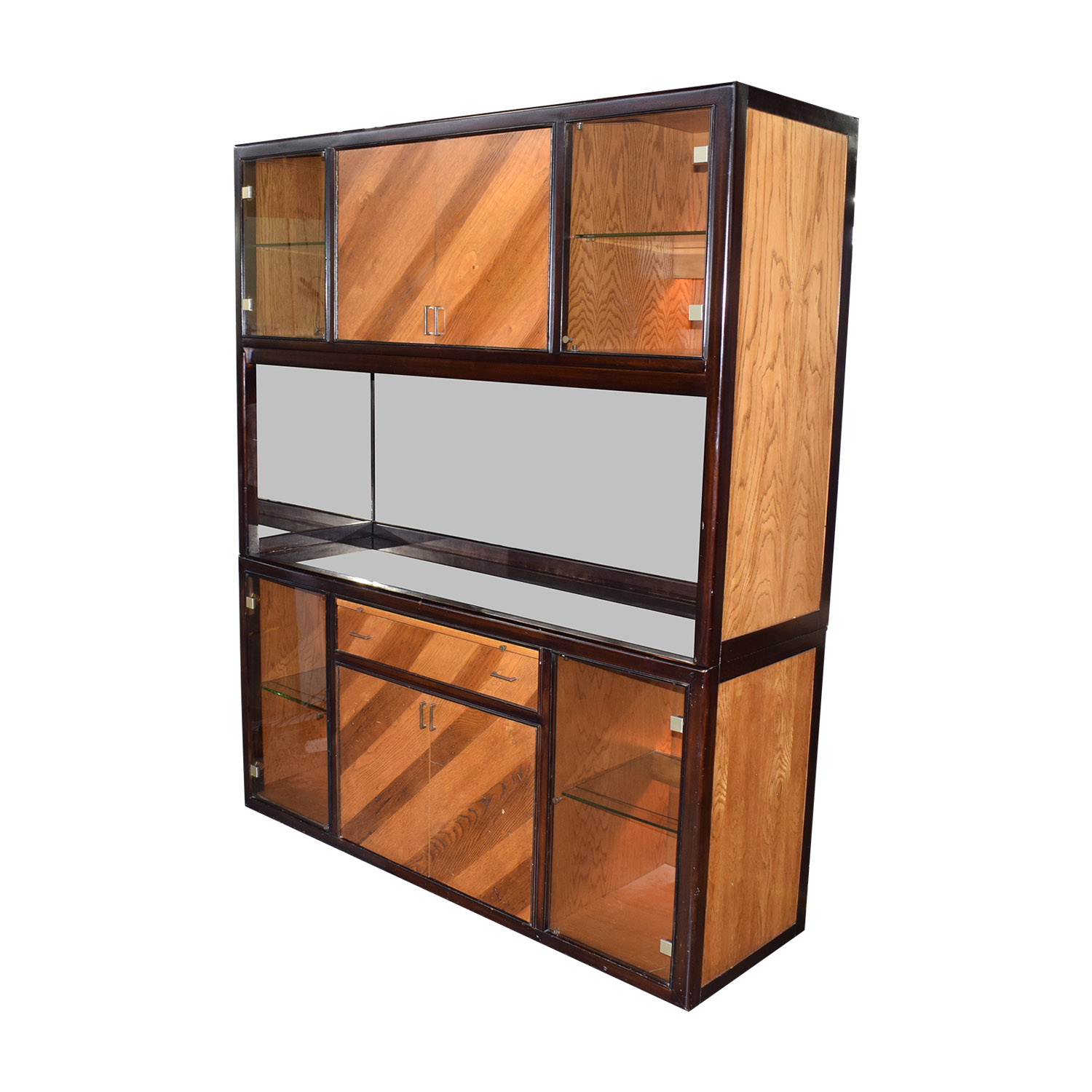 Peck and Hills Furniture Peck and Hills Furniture Wood and Glass Mirrored Breakfront for sale