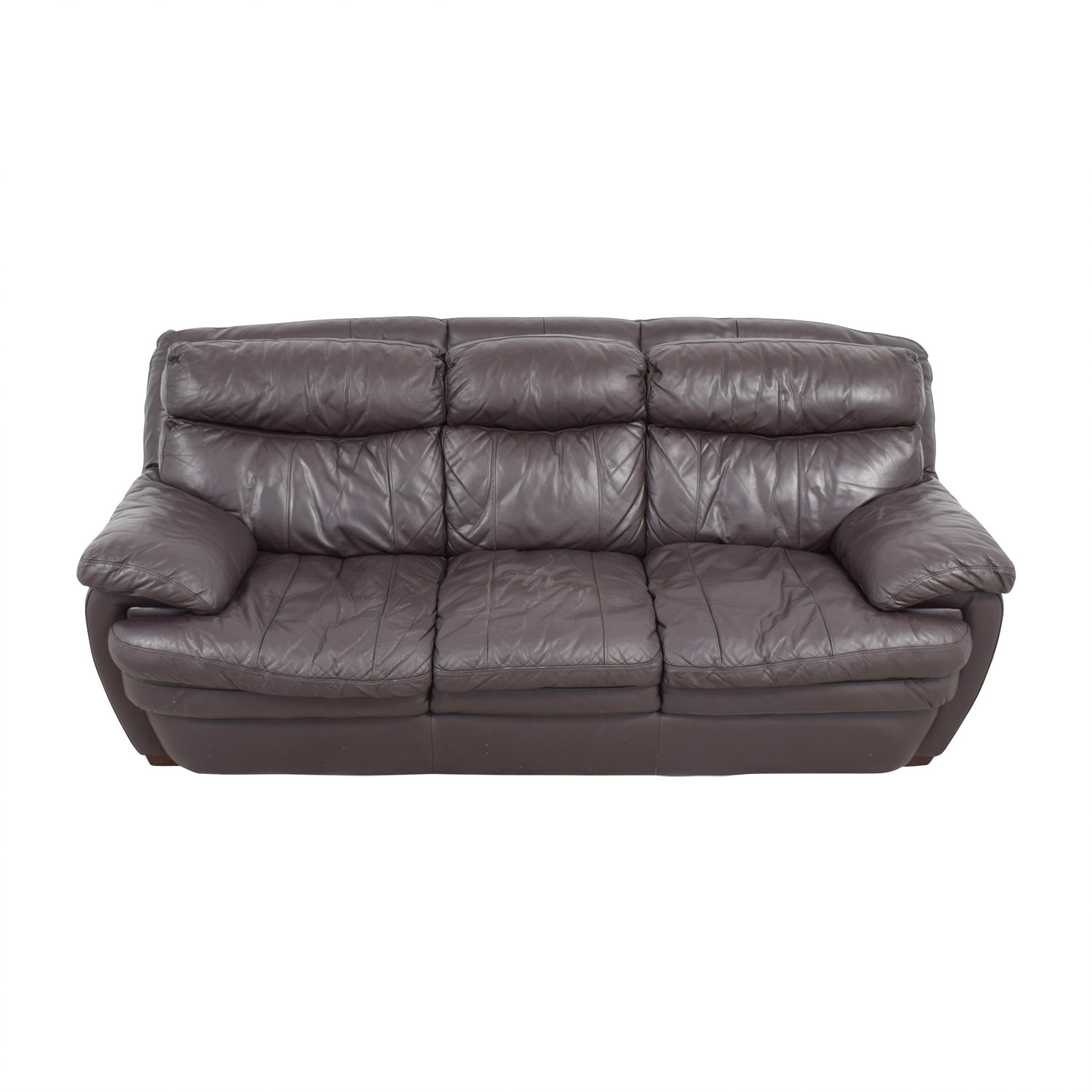 Bob's Furniture Three-Cushion Brown Leather Sofa Bob's Furniture
