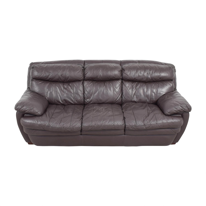 Bob's Furniture Bob's Furniture Three-Cushion Brown Leather Sofa Sofas