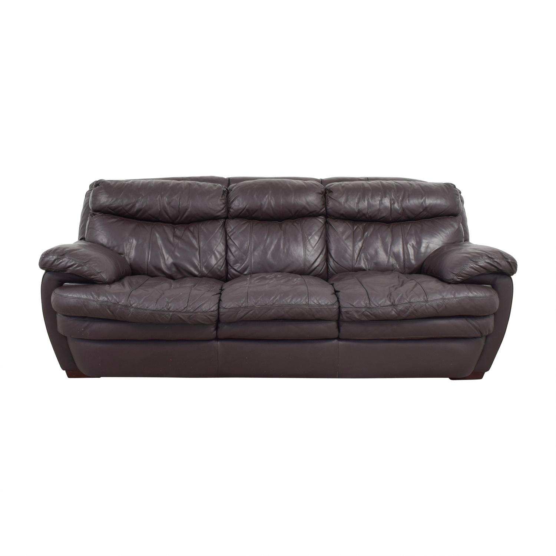 Bob's Furniture Bob's Furniture Three-Cushion Brown Leather Sofa Classic Sofas