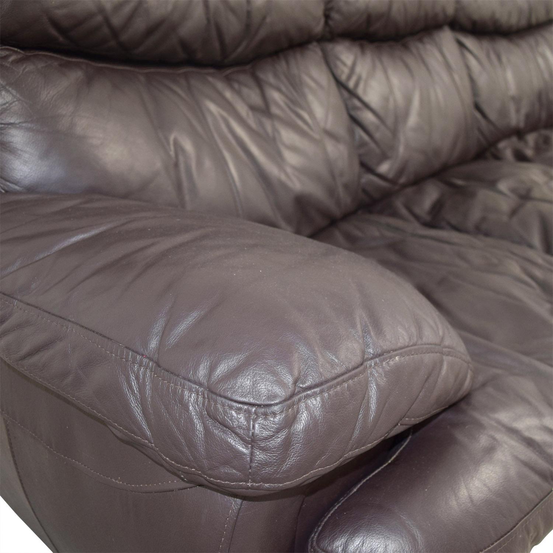 shop Bob's Furniture Three-Cushion Brown Leather Sofa Bob's Furniture