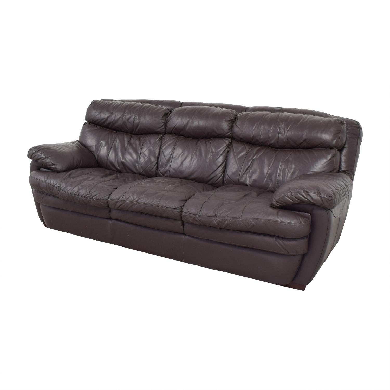 Bob's Furniture Three-Cushion Brown Leather Sofa / Classic Sofas