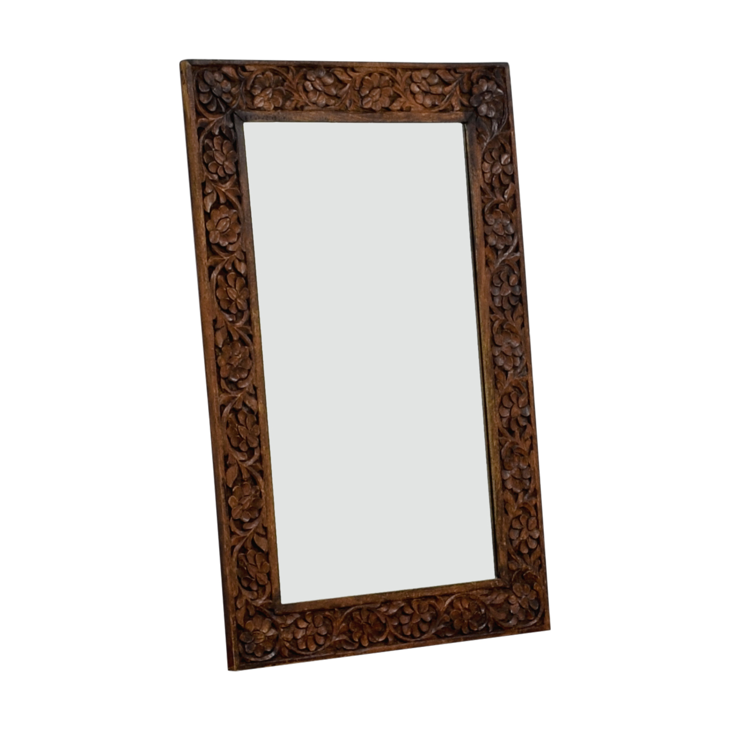 Floral Carved Wooden Mirror on sale
