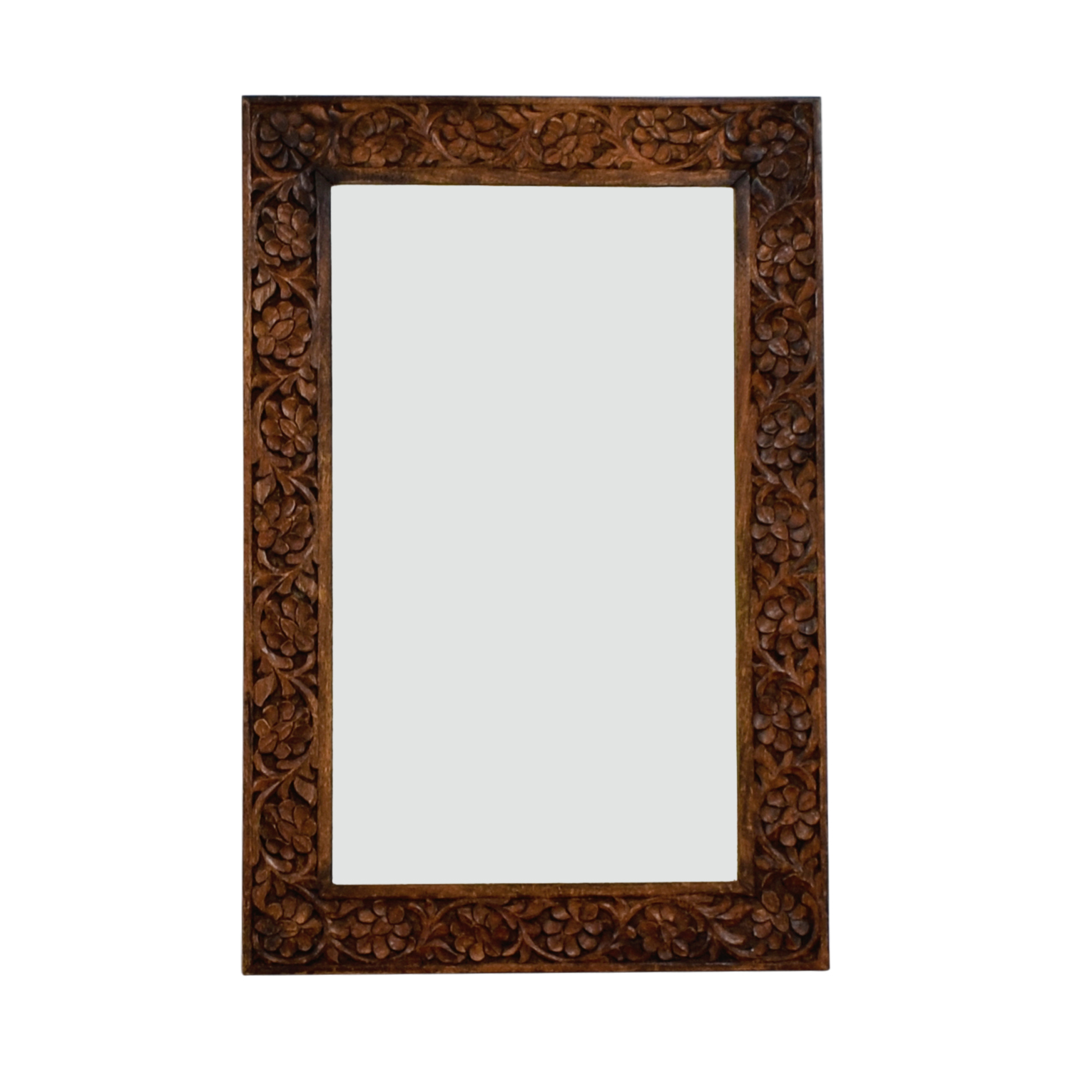 Floral Carved Wooden Mirror