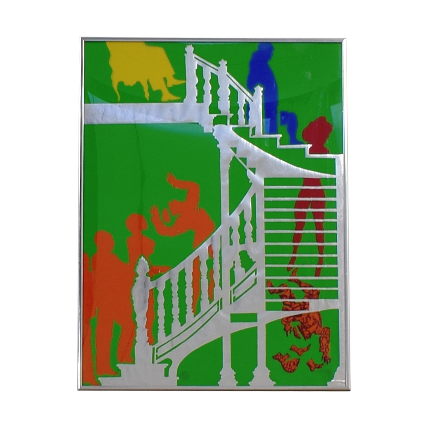 buy People in Staircase Framed Wall Art Decor