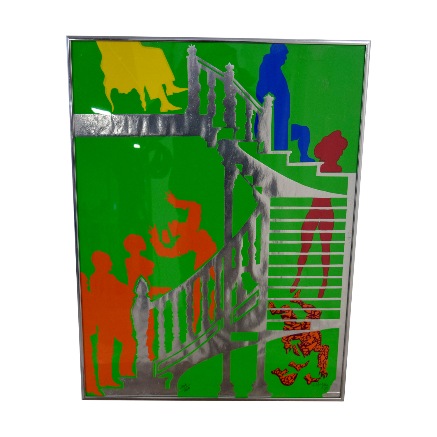 shop People in Staircase Framed Wall Art Decor