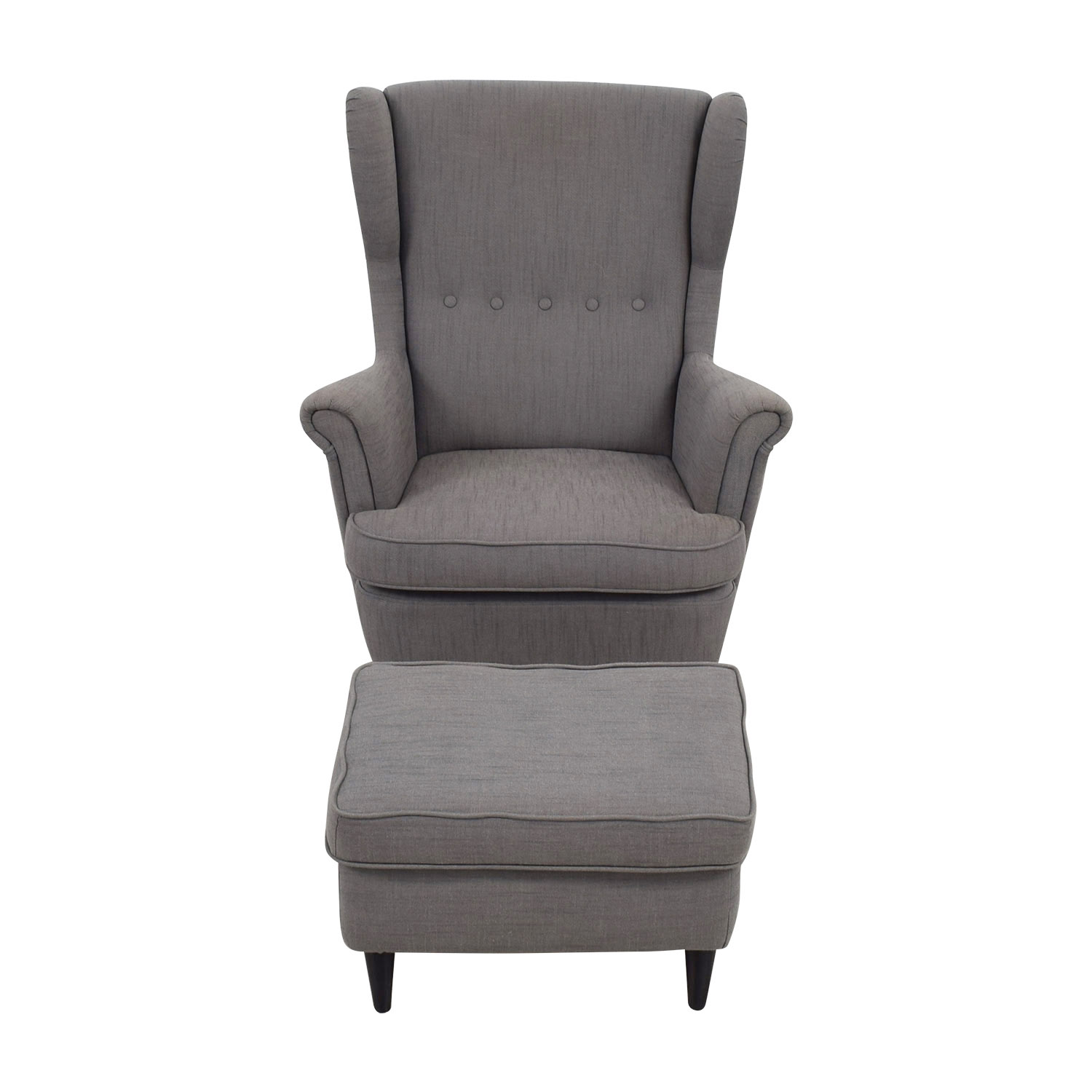 62 Off Ikea Ikea Grey Wing Chair And Ottoman Chairs