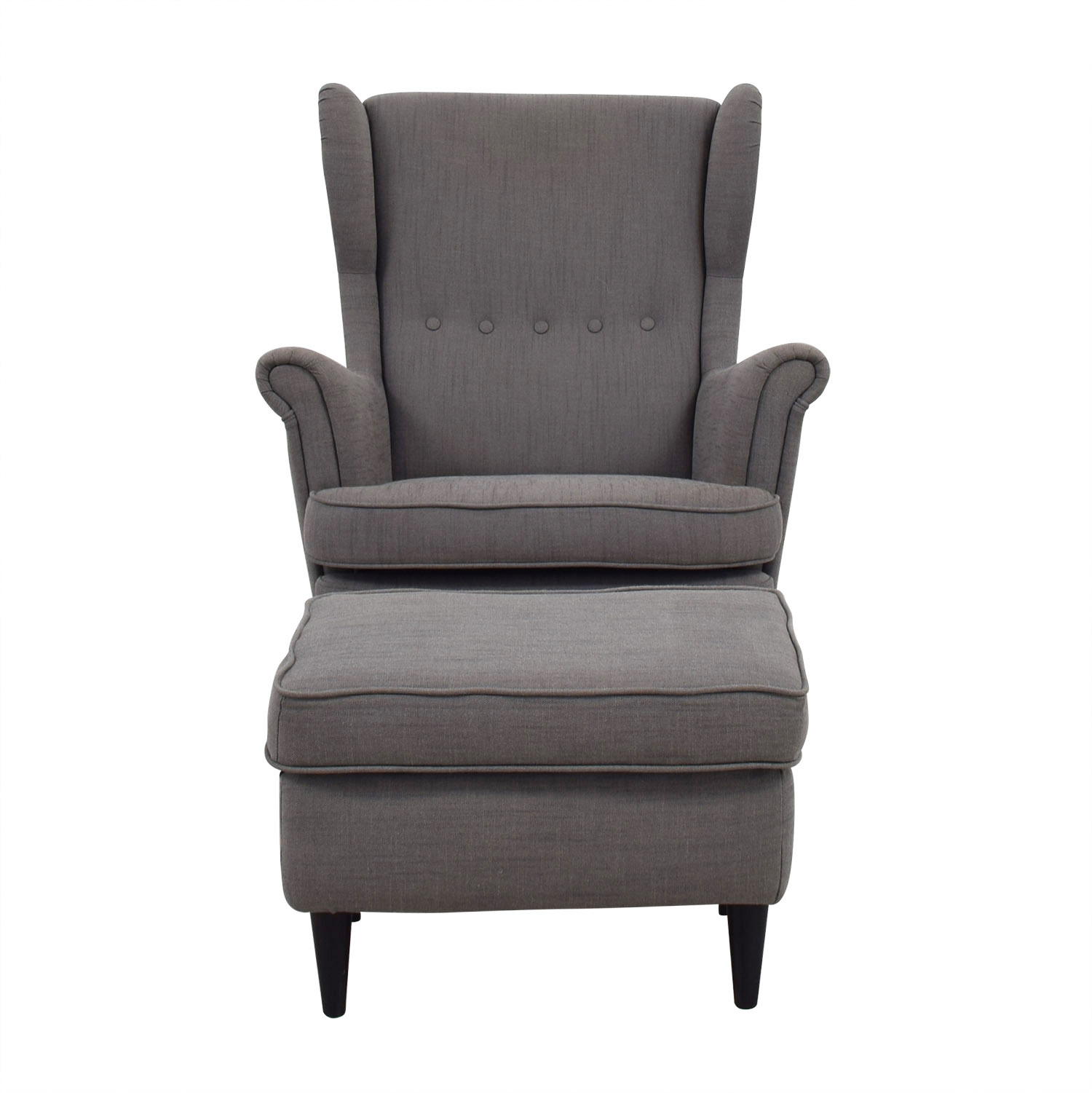 IKEA IKEA Grey Wing Chair and Ottoman