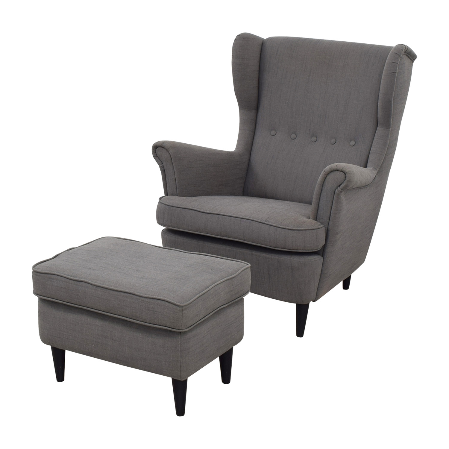 62 off ikea ikea grey wing chair and ottoman chairs. Black Bedroom Furniture Sets. Home Design Ideas