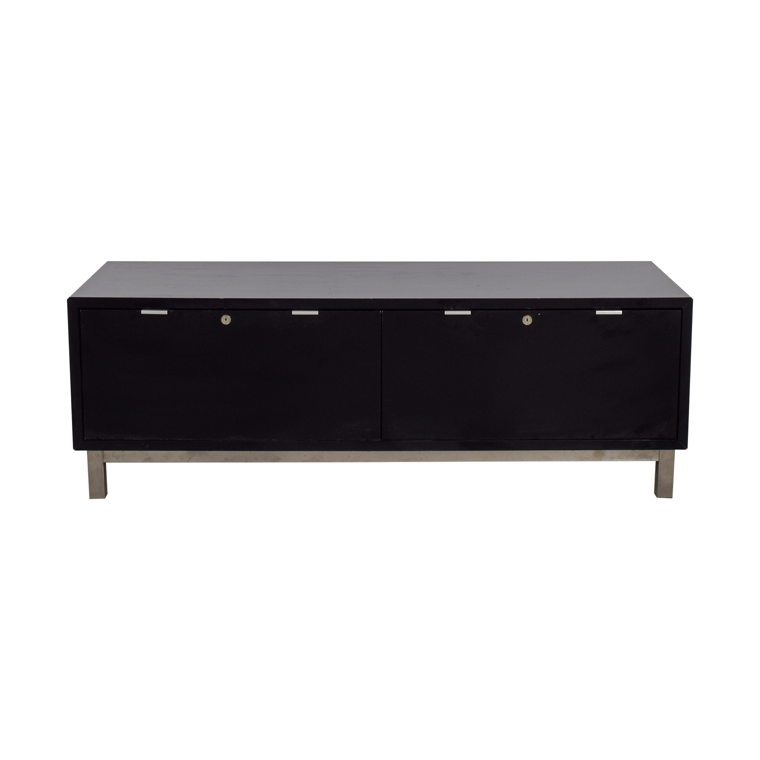 shop  Black Two-Drawer Locking Drawer Media Console online