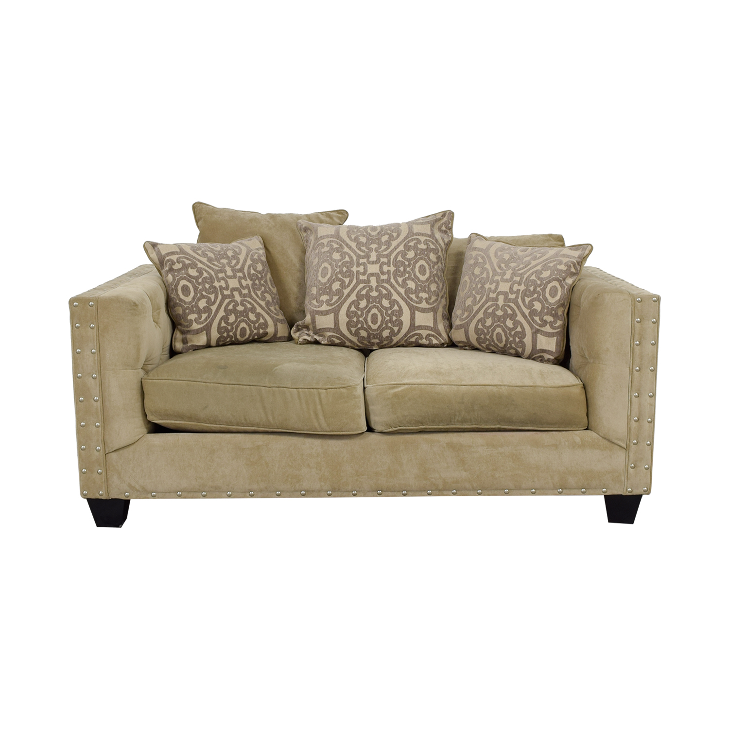 buy Raymour & Flanigan Cindy Crawford Beige Suede Loveseat Raymour & Flanigan Loveseats