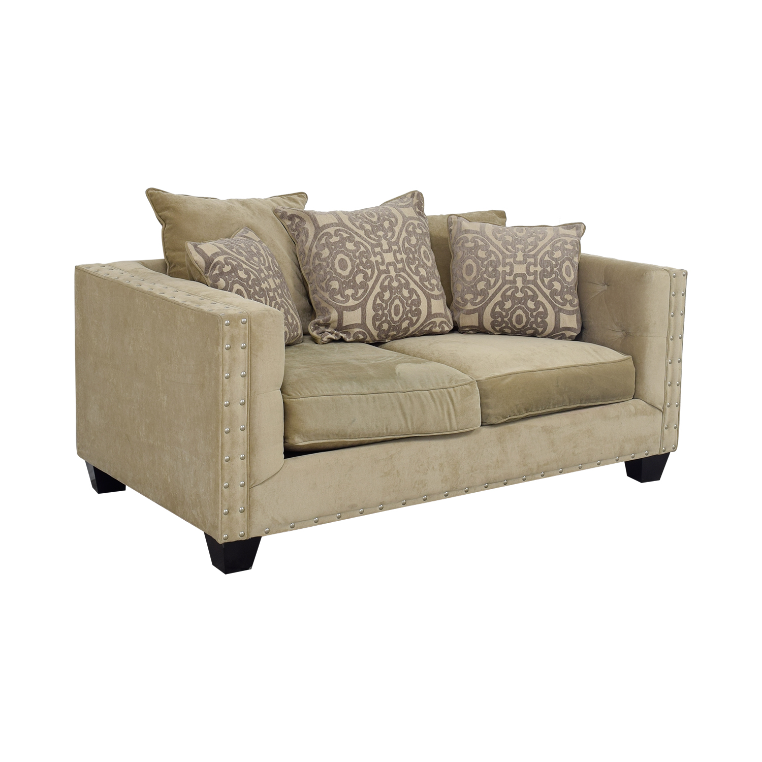 Raymour & Flanigan Raymour & Flanigan Cindy Crawford Beige Suede Loveseat second hand
