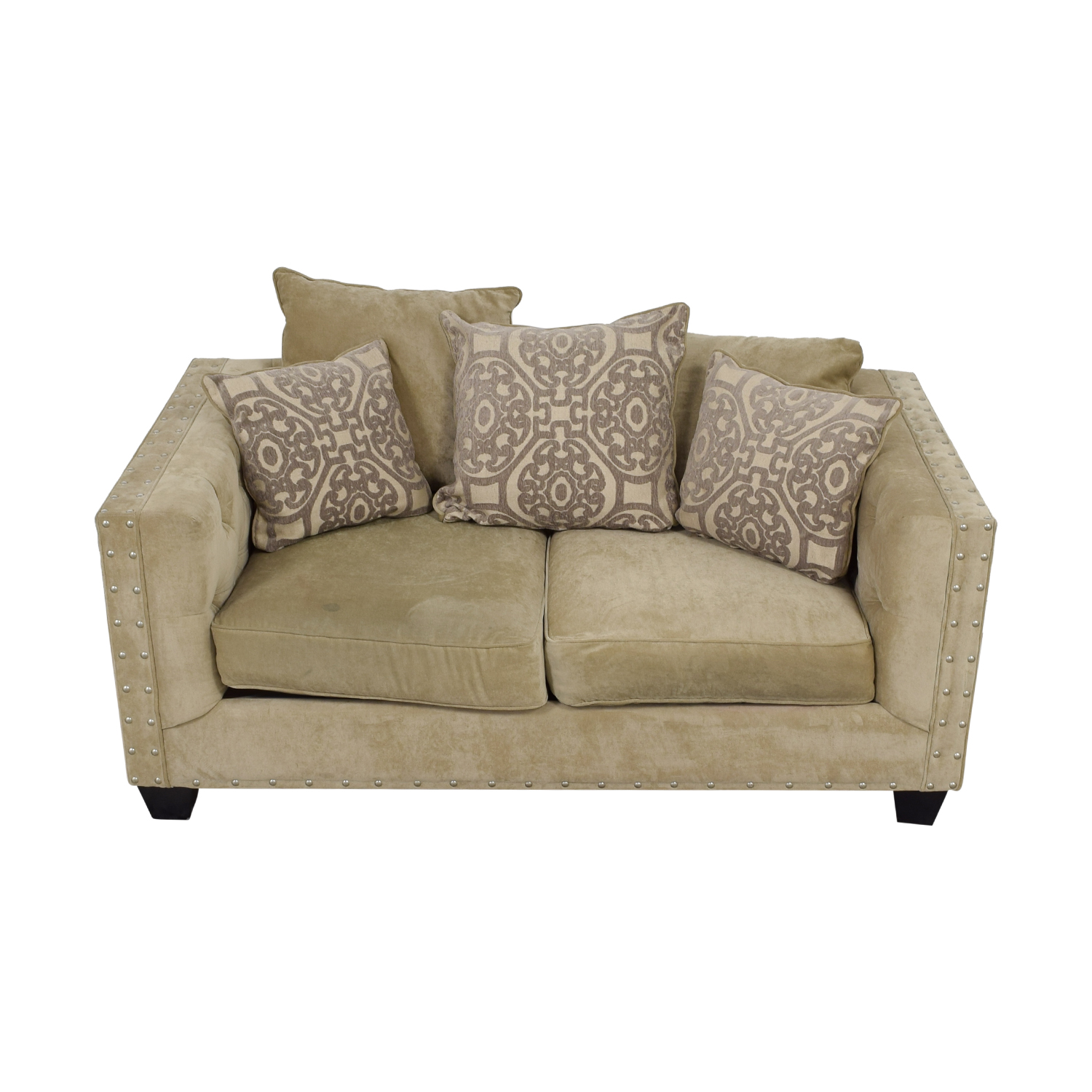 Raymour & Flanigan Cindy Crawford Beige Suede Loveseat sale