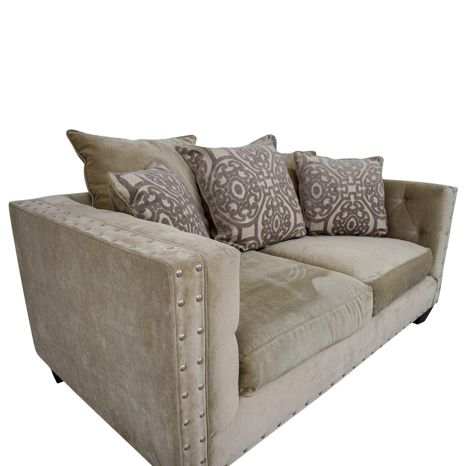 shop Raymour & Flanigan Raymour & Flanigan Cindy Crawford Beige Suede Loveseat online