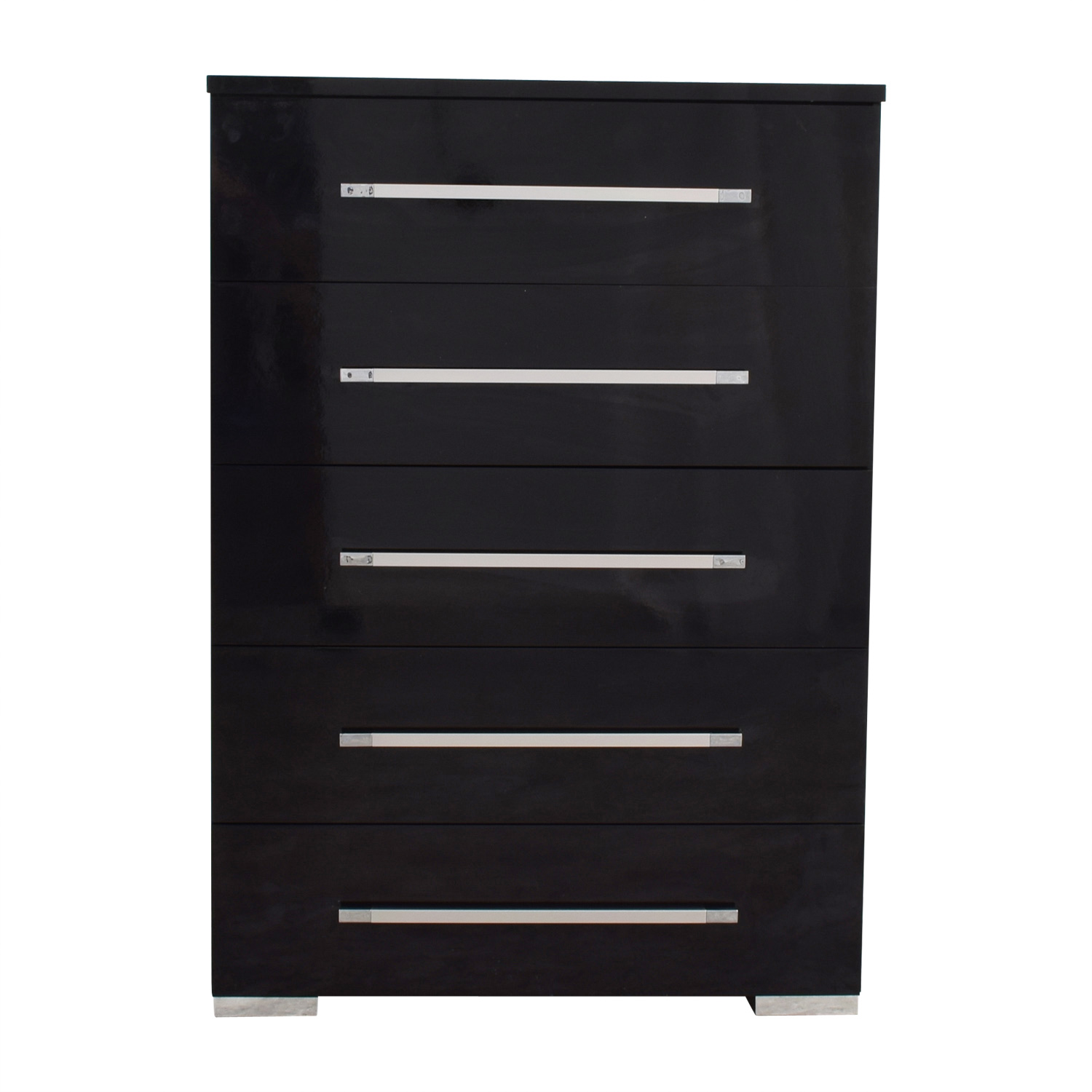 Bobs Furniture Bobs Furniture Black Five-Drawer Tall Chest