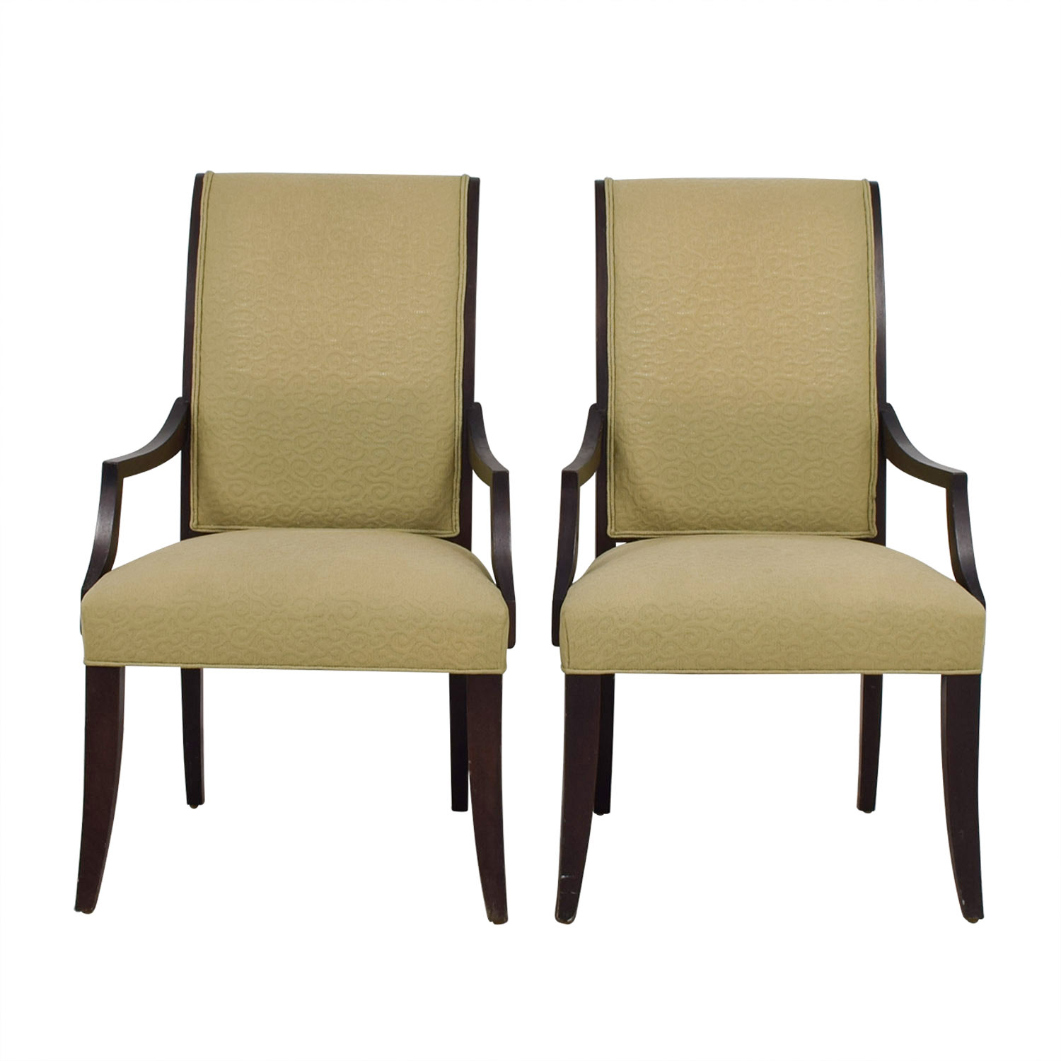 Ethan Allen Ethan Allen Beige Jacquard Upholstered Accent Chairs Accent Chairs