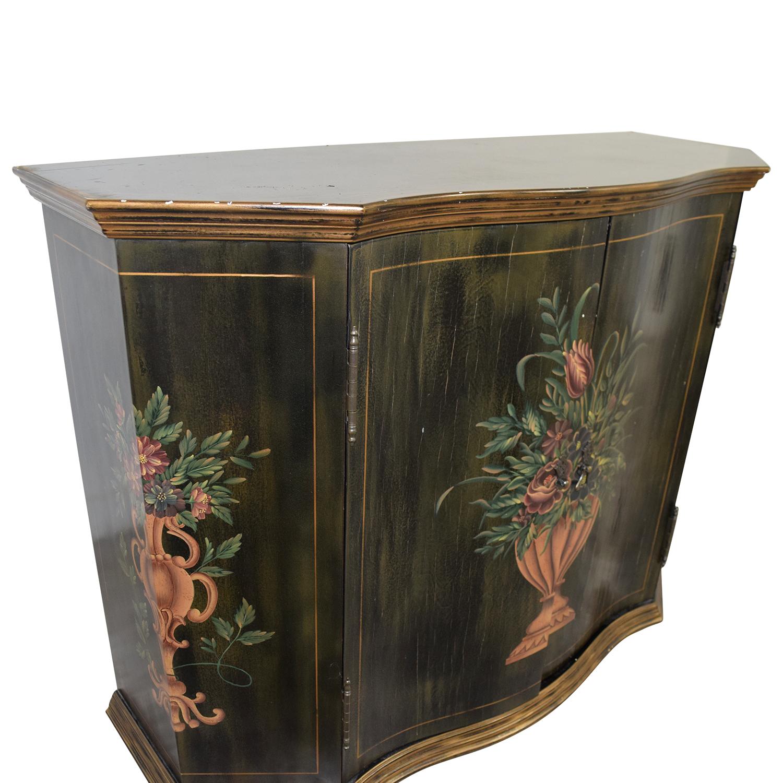 Ethan Allen Ethan Allen Floral Hand Painted Cabinet BLACK