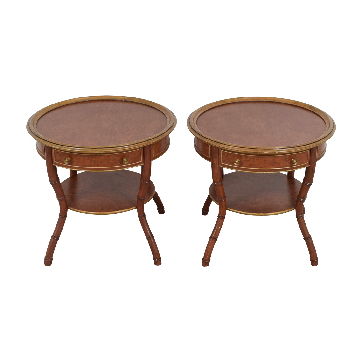 John Widdicomb John Widdicomb Mario Buatta Round Single Drawer Wood End Tables discount