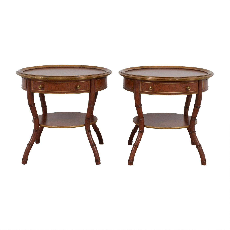 John Widdicomb Mario Buatta Round Single Drawer Wood End Tables Nj