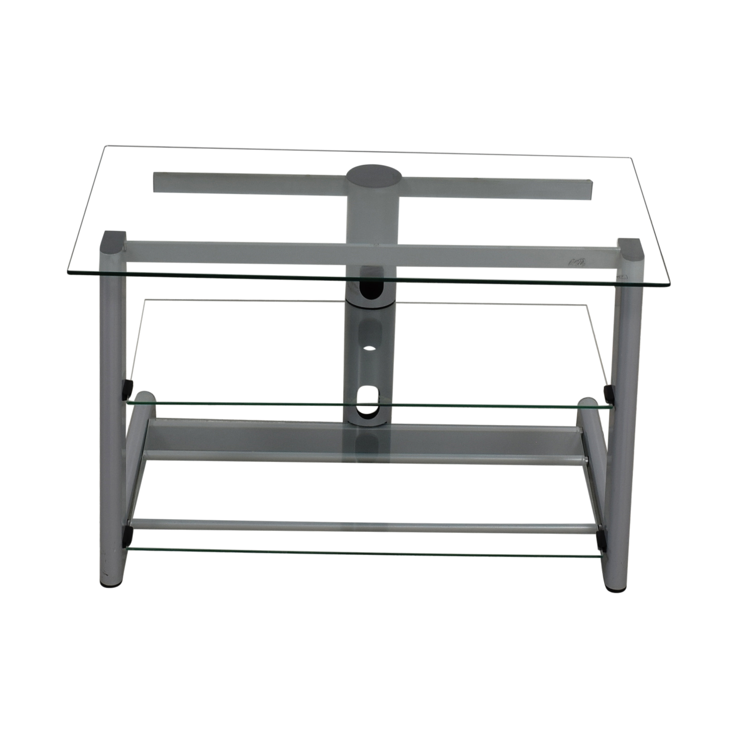 Three Tier Glass & Metal TV Stand used