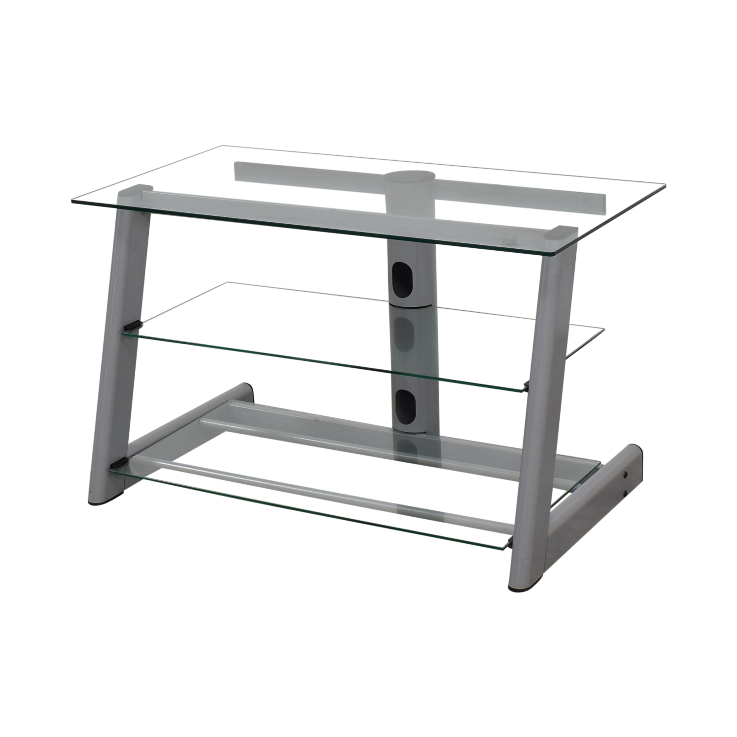 shop Three Tier Glass & Metal TV Stand  Storage