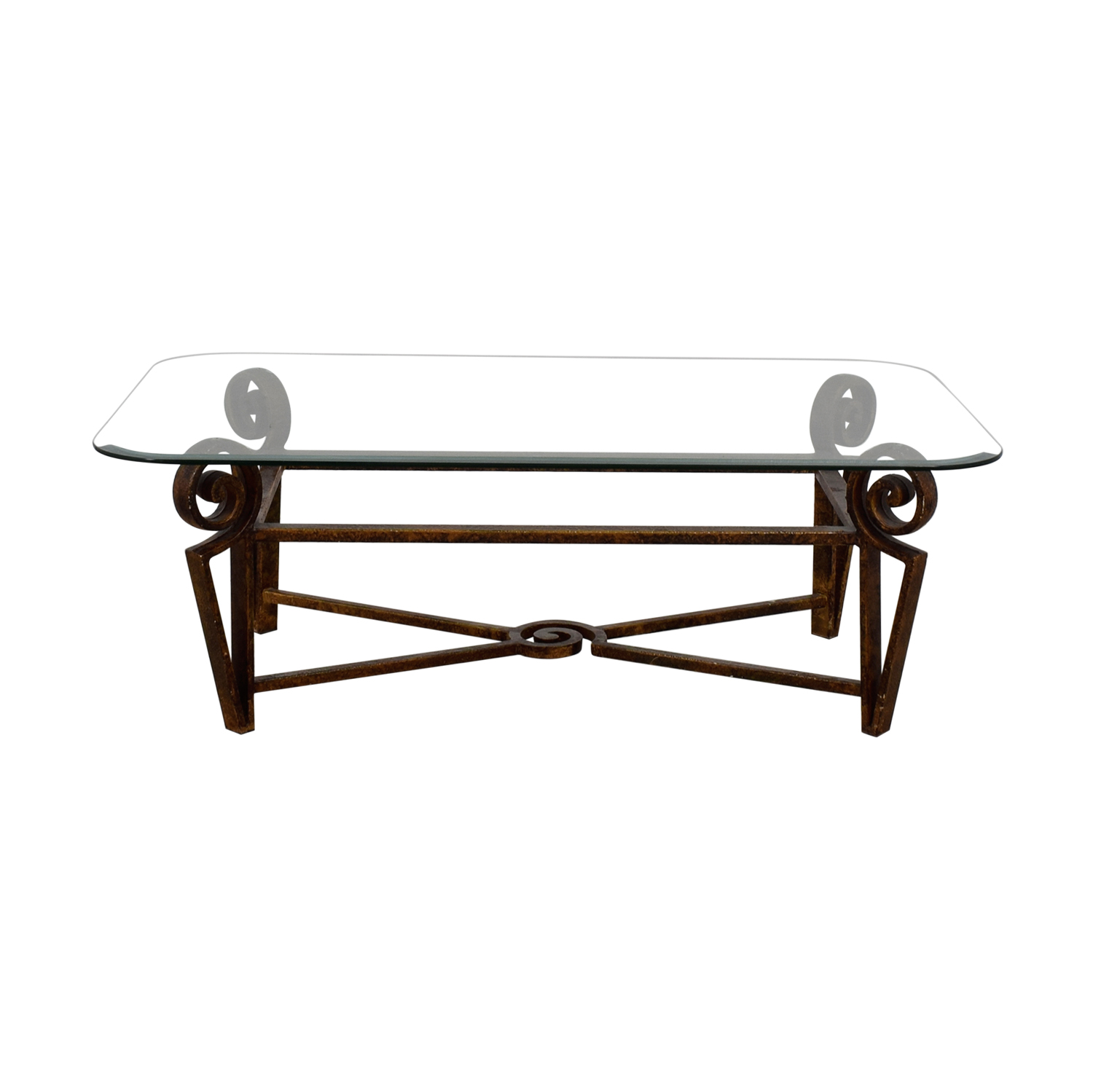 Glass Top and Metal Base Coffee Table brown steel base