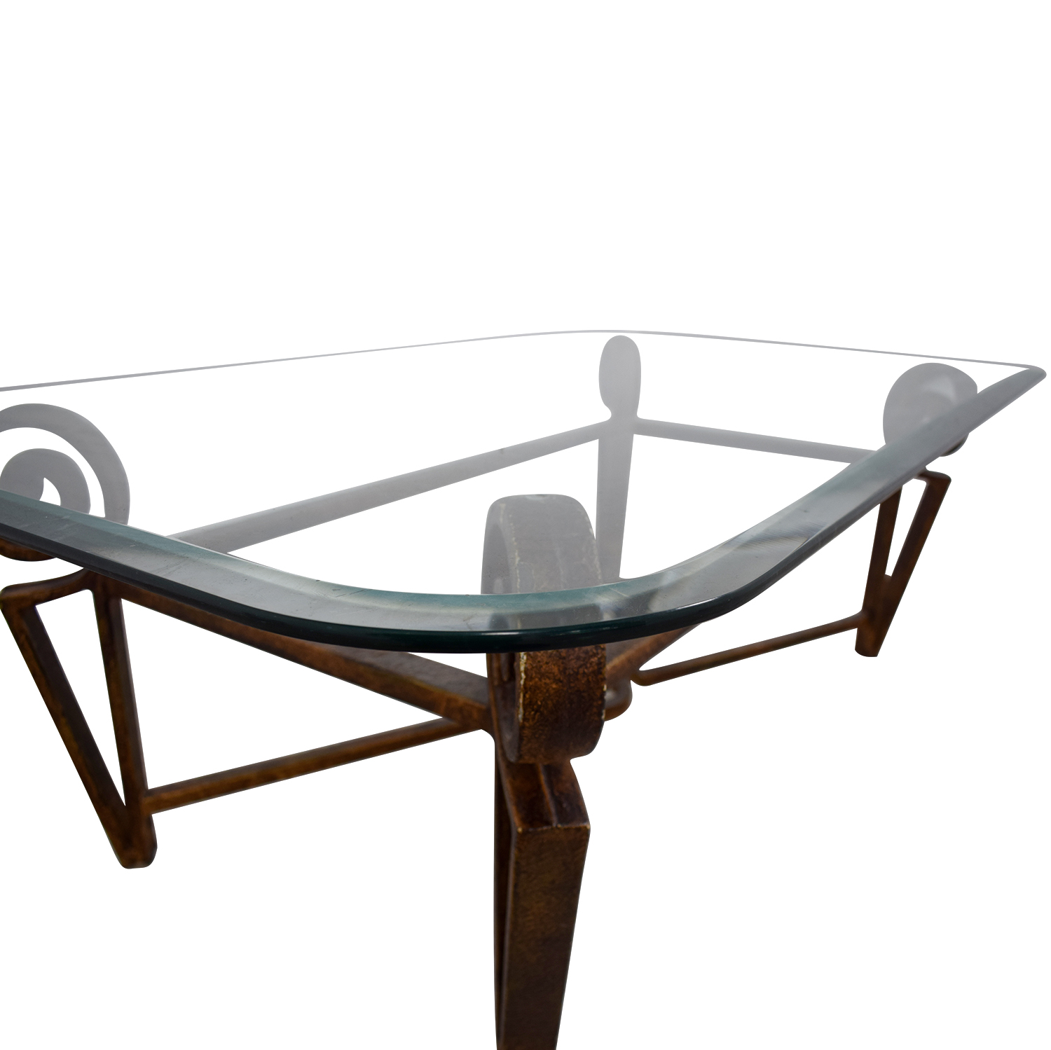 Glass Top and Metal Base Coffee Table used