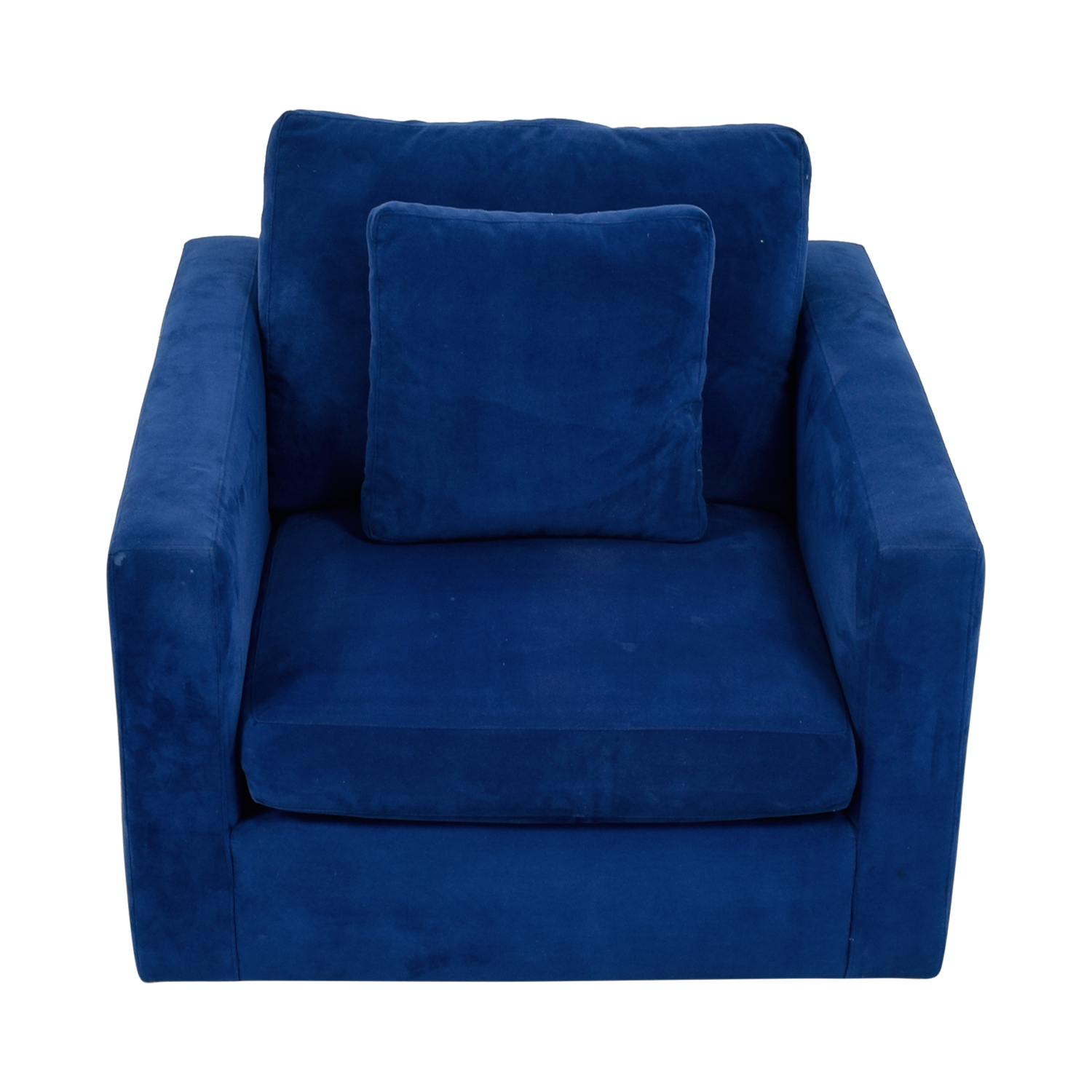 Blue Arm Chair with Toss Pillow